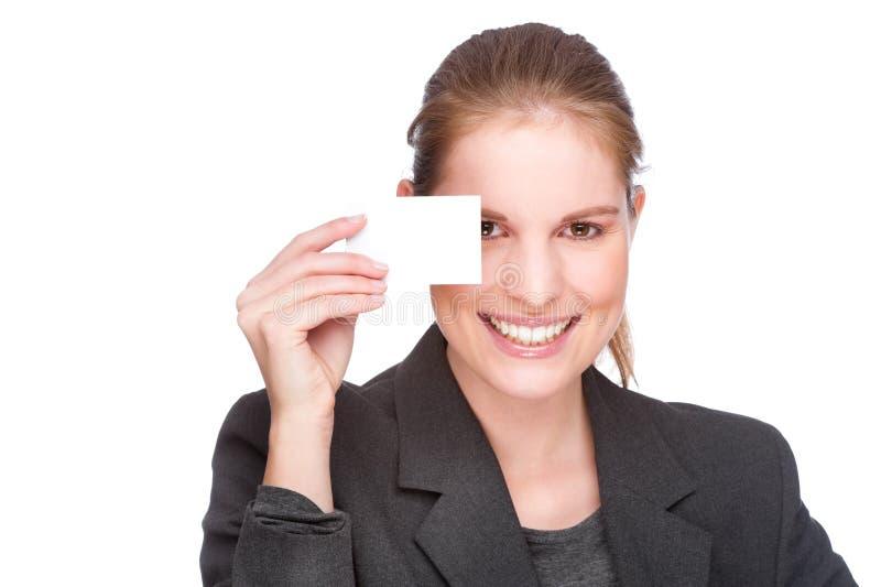 Donna di affari con il biglietto da visita fotografie stock libere da diritti