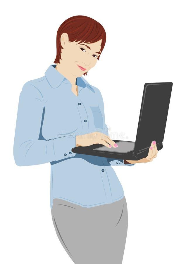 Donna di affari con il computer portatile illustrazione di stock