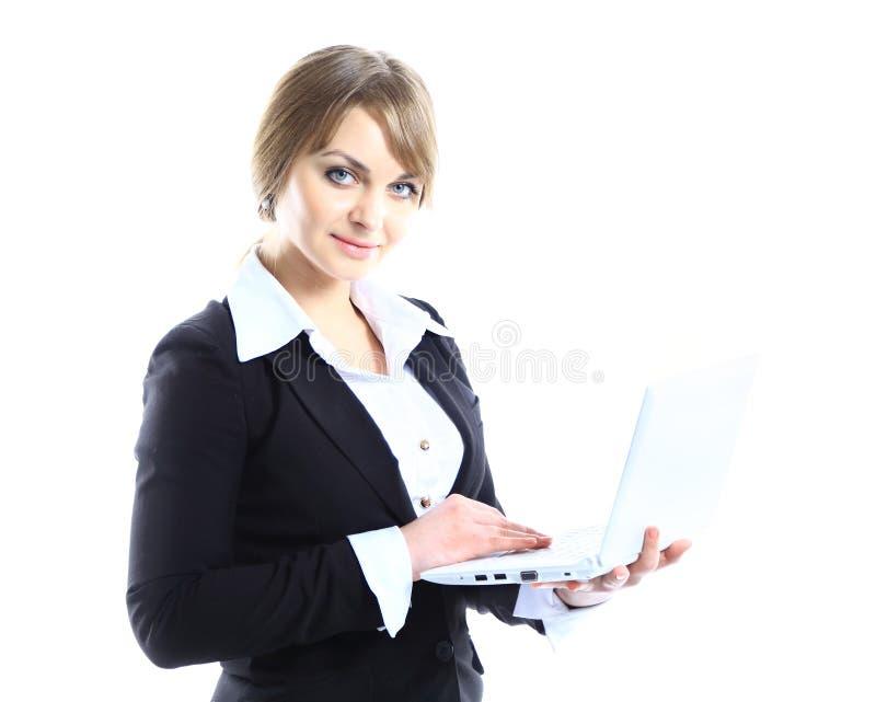 Donna di affari con il computer portatile popolare moderno immagine stock libera da diritti