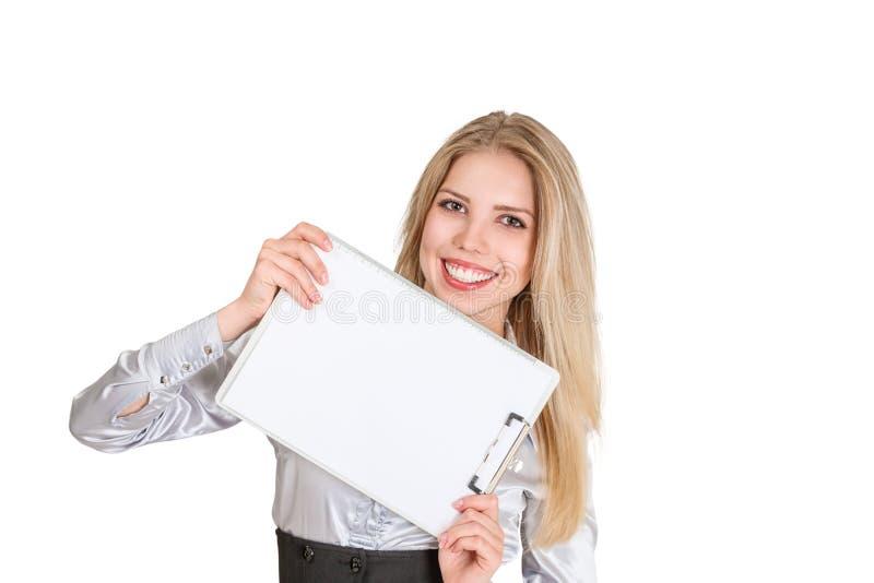 Donna di affari con il cuscinetto del fermacarte immagini stock libere da diritti