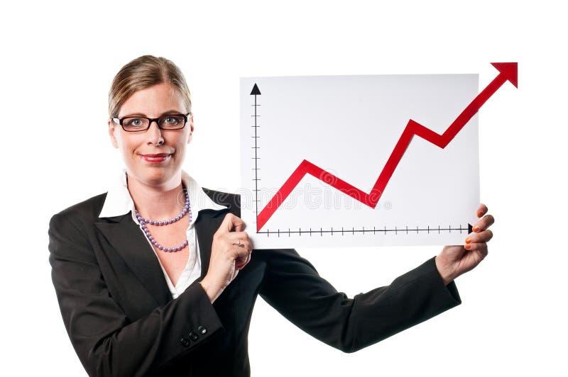 Donna di affari con il diagramma immagine stock