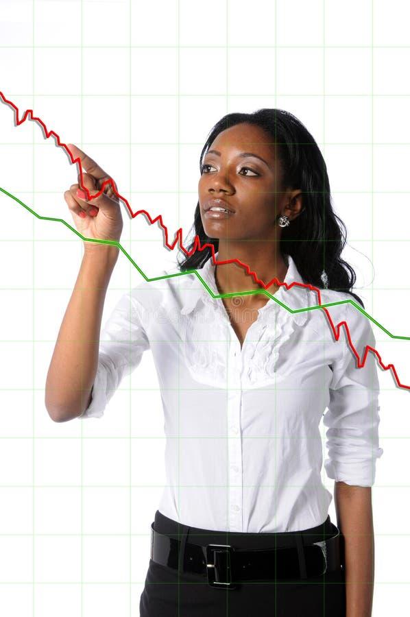 Donna di affari con il diagramma fotografia stock