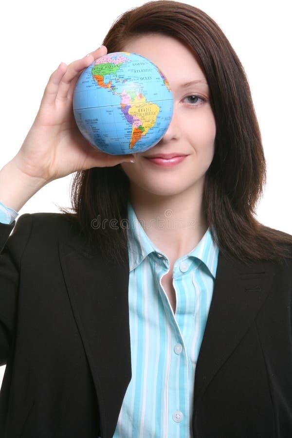 Donna di affari con il globo immagini stock