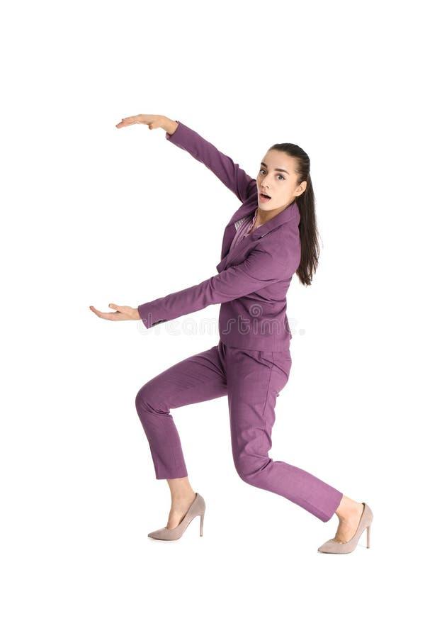 Donna di affari con il magnete che attira la gente immagini stock libere da diritti