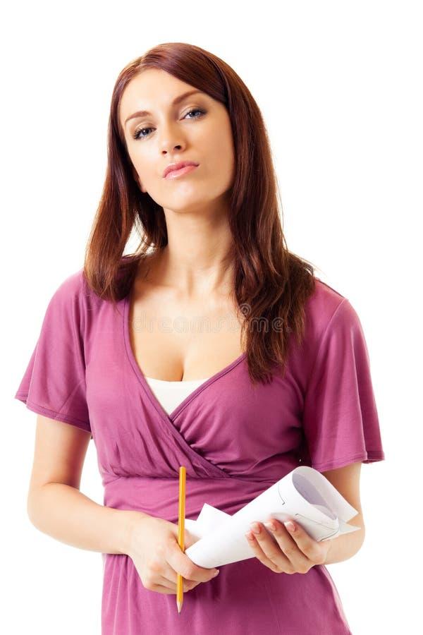 Donna di affari con il pensil ed il programma immagine stock