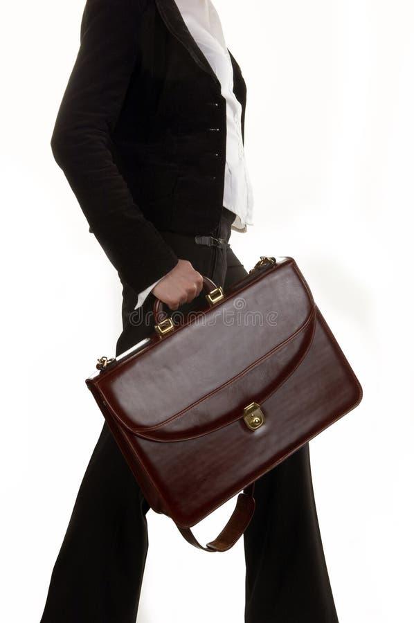 Donna di affari con il sacchetto fotografia stock
