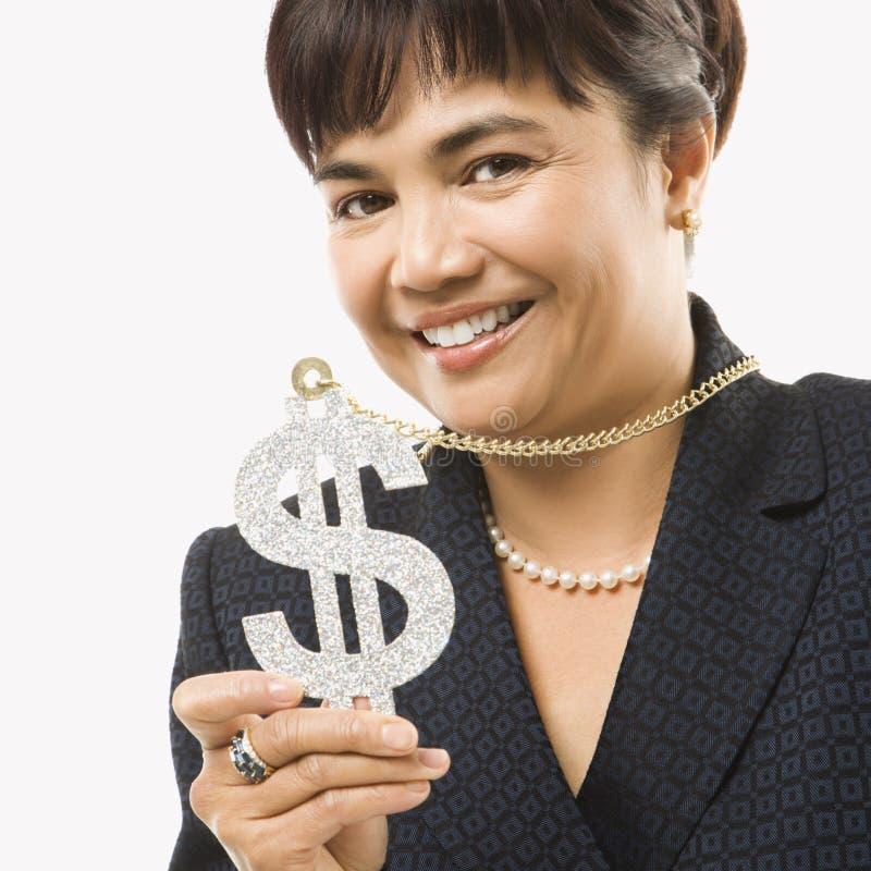 Donna di affari con il segno del dollaro fotografia stock libera da diritti