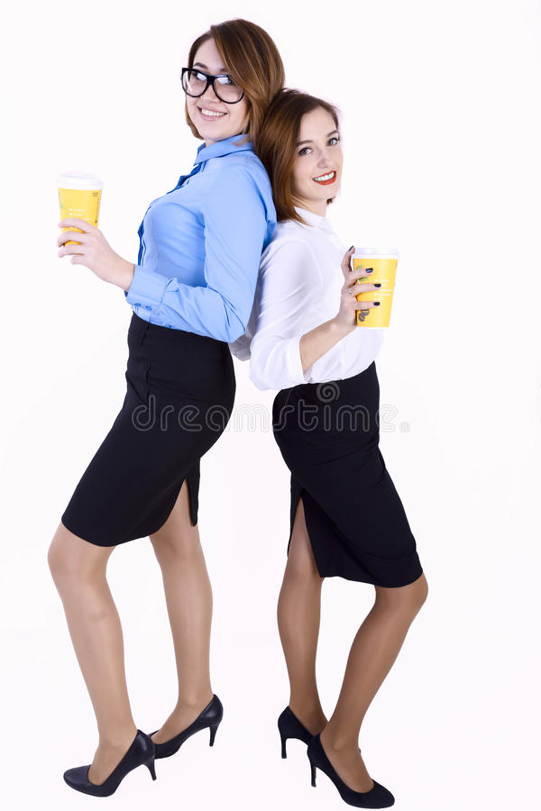 Donna di affari con il taccuino blu immagine stock