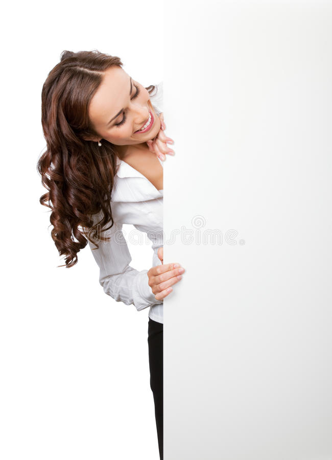 Donna di affari con l'insegna, su briciolo fotografia stock libera da diritti