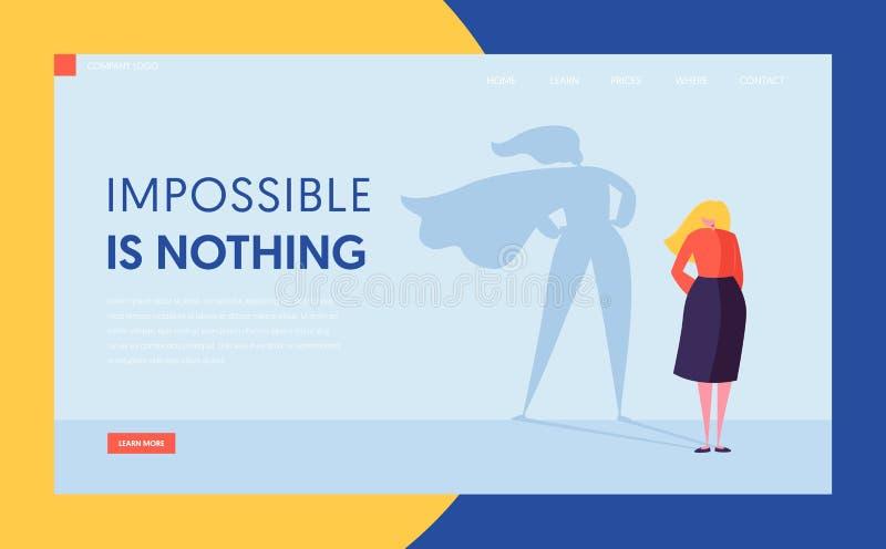 Donna di affari con la siluetta dell'ombra del mantello dell'eroe eccellente Donna di affari Leadership Motivation Concept del ca royalty illustrazione gratis