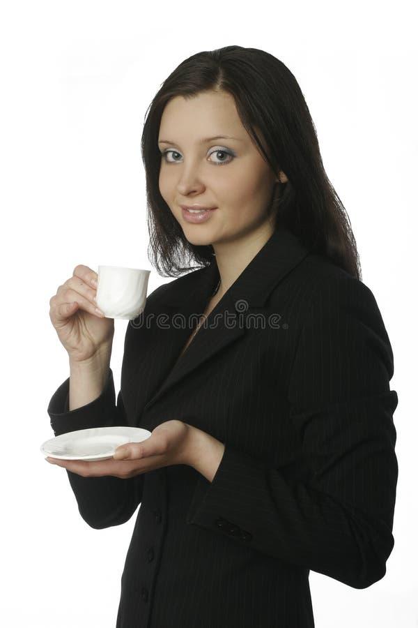 Donna di affari con la tazza immagine stock