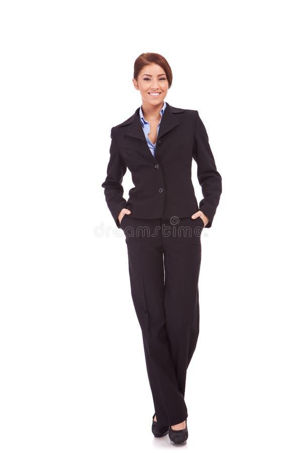 Donna di affari con le mani in caselle fotografie stock