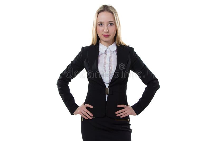 Donna di affari con le mani sulla vita fotografie stock