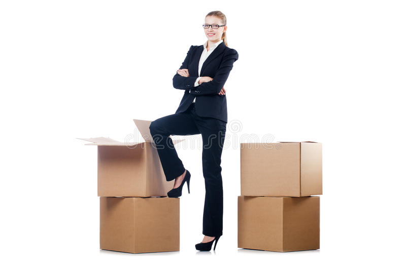 Donna di affari con le scatole fotografie stock libere da diritti