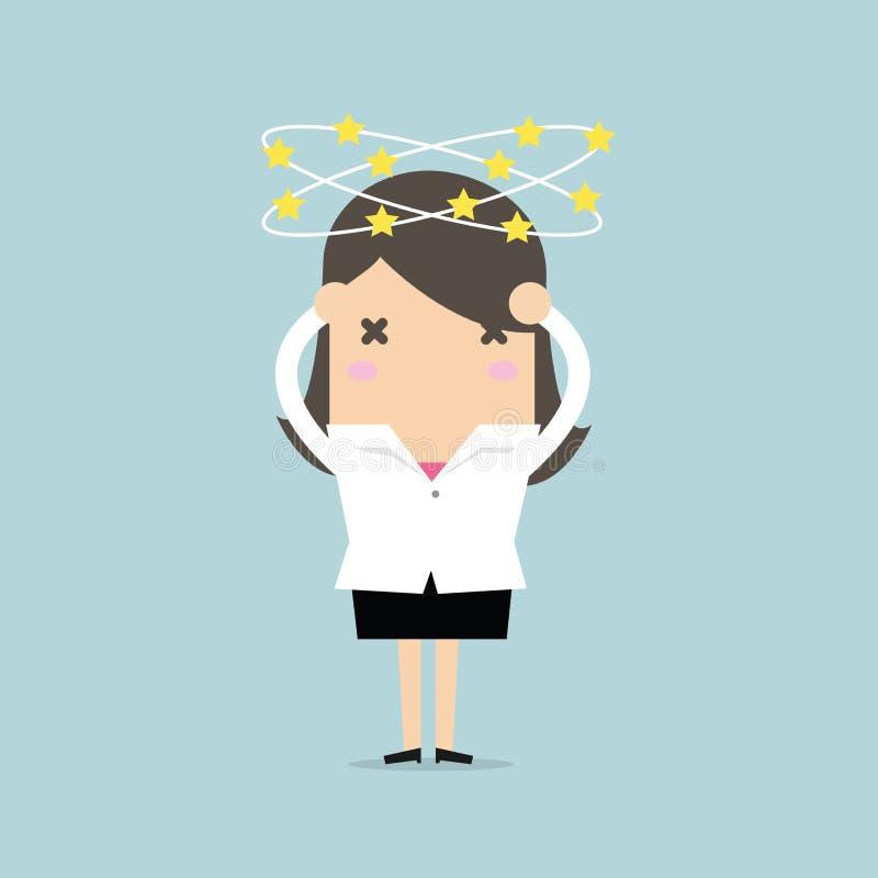 Donna di affari con le stelle che filano intorno il suo testa illustrazione vettoriale