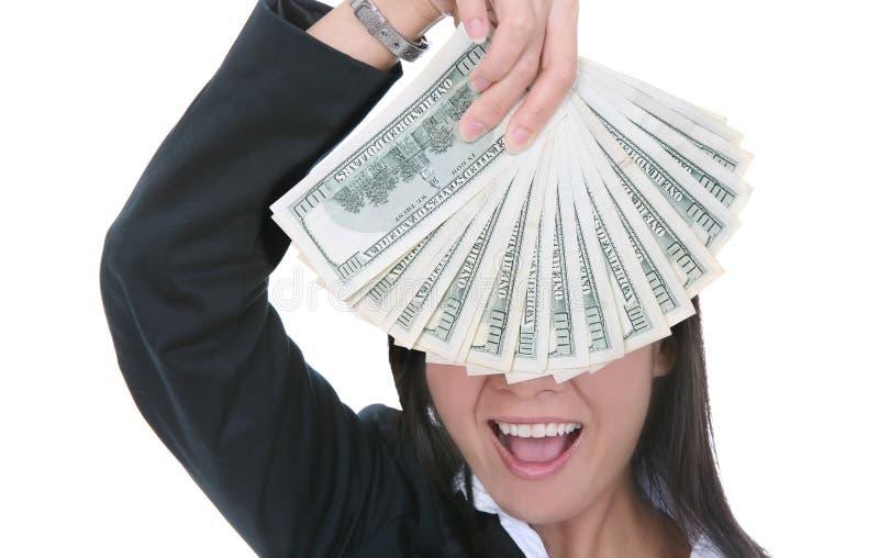 Donna di affari con soldi immagine stock