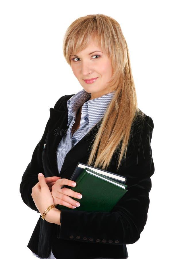 Donna di affari con un blocchetto per appunti. fotografie stock libere da diritti