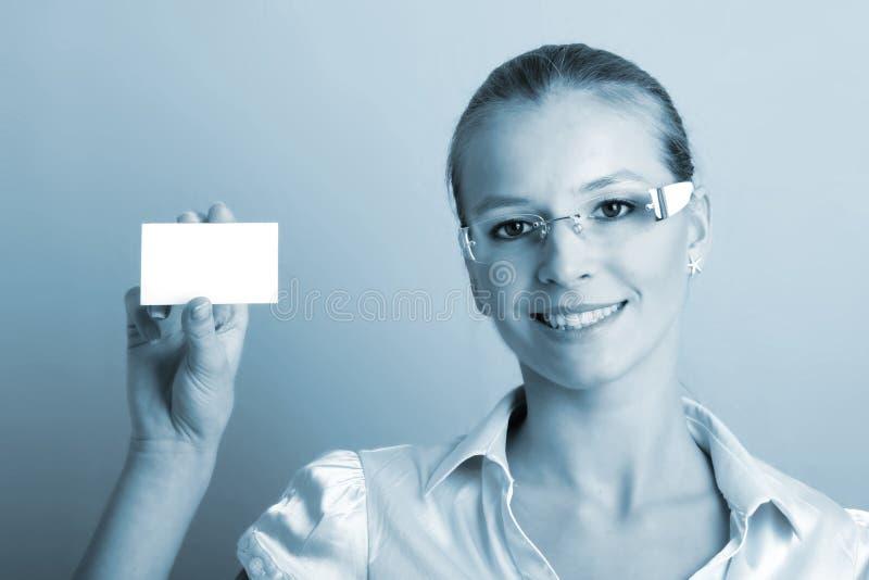 Donna di affari con una scheda fotografie stock libere da diritti