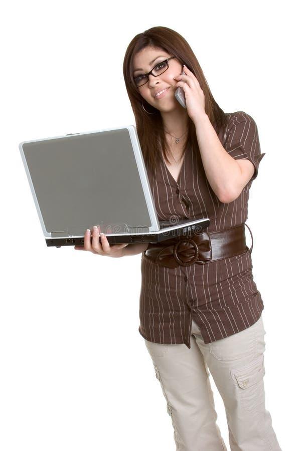 Donna di affari del computer portatile fotografia stock
