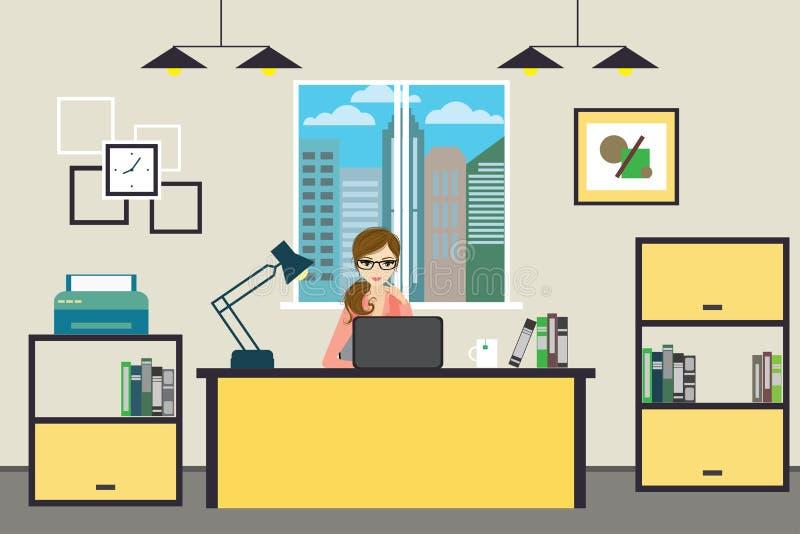 Donna di affari del fumetto che lavora a casa o ufficio moderno illustrazione di stock