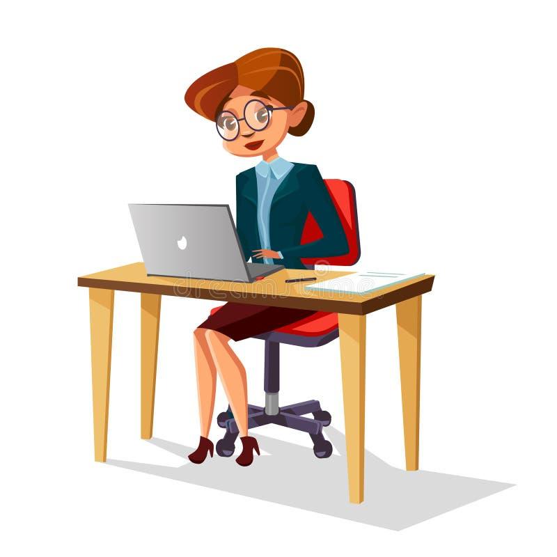 Donna di affari del fumetto di vettore al computer portatile del posto di lavoro illustrazione vettoriale