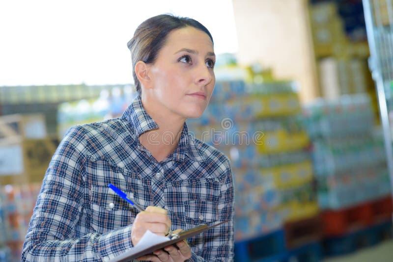 Donna di affari del ritratto che fa inventario in magazzino immagini stock libere da diritti