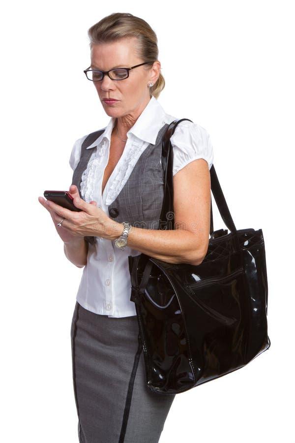 Donna di affari del telefono immagine stock