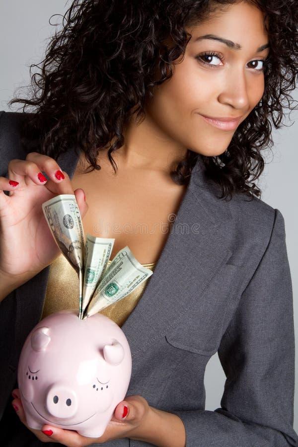 Donna di affari della Banca Piggy immagini stock