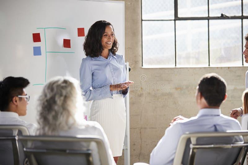 Donna di affari della corsa mista che dà una presentazione ad una riunione immagine stock