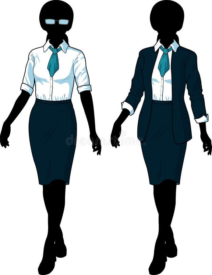 Donna di affari della siluetta nell'usura convenzionale elegante illustrazione vettoriale
