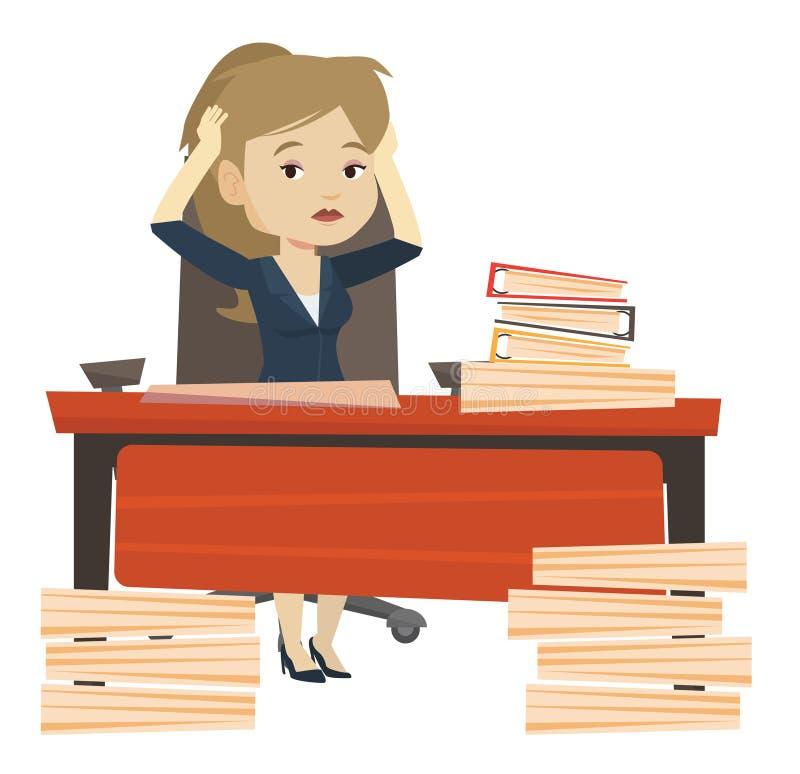 Donna di affari di disperazione che lavora nell'ufficio royalty illustrazione gratis