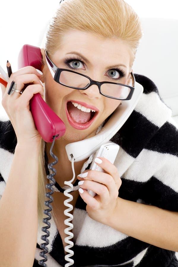 Donna di affari di grido fotografie stock