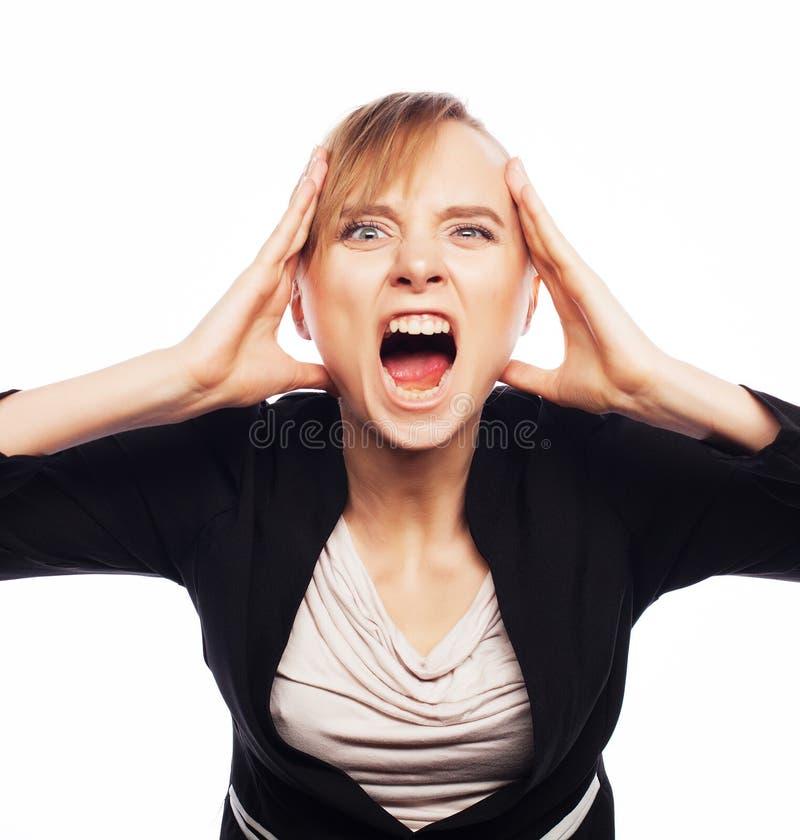 Donna di affari di grido arrabbiata immagine stock libera da diritti