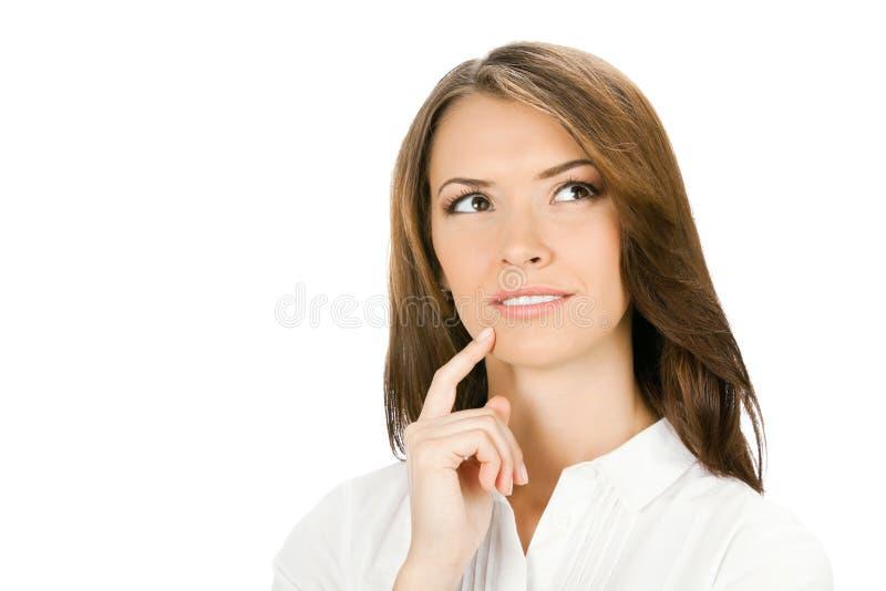 Donna di affari di pensiero, su bianco fotografie stock