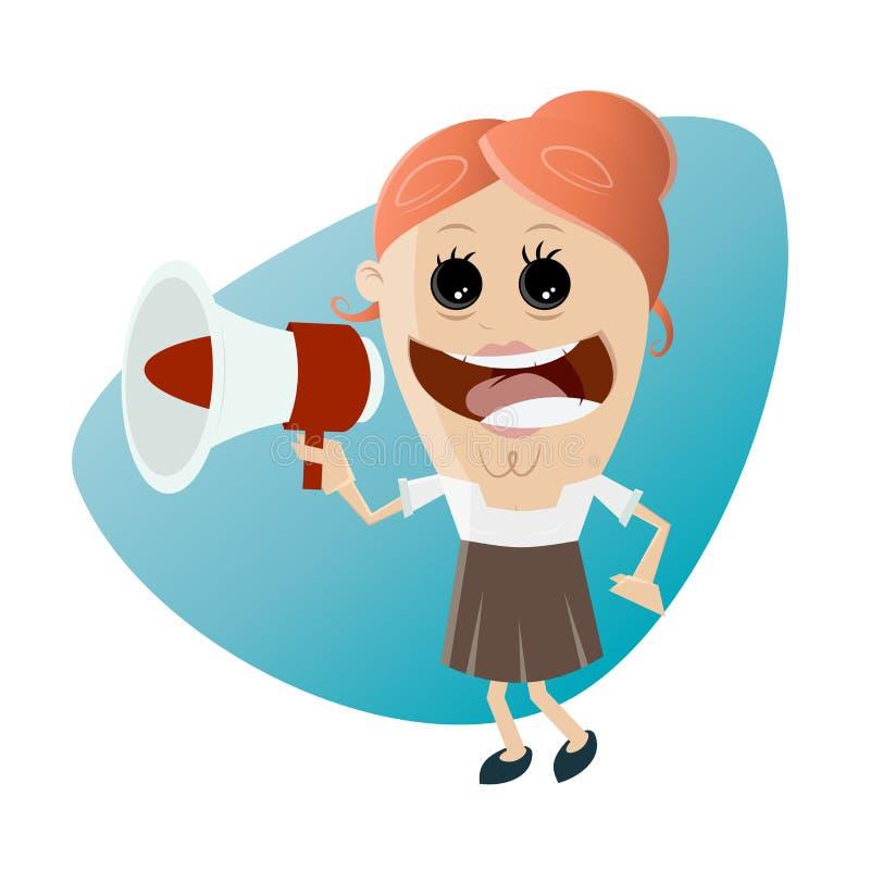 Donna di affari divertente con il megafono illustrazione di stock