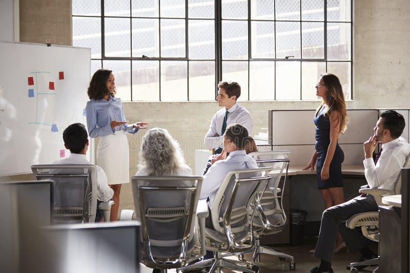 Donna di affari e colleghi ad una riunione di lampo di genio immagini stock