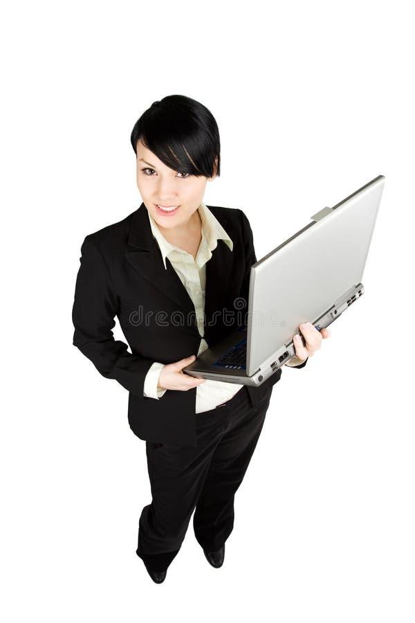 Donna di affari e computer portatile immagini stock libere da diritti
