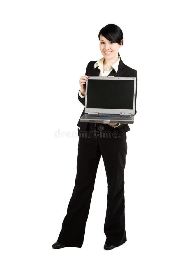 Donna di affari e computer portatile immagine stock libera da diritti