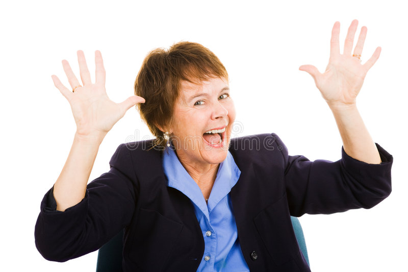 Donna di affari - eccitamento fotografie stock libere da diritti