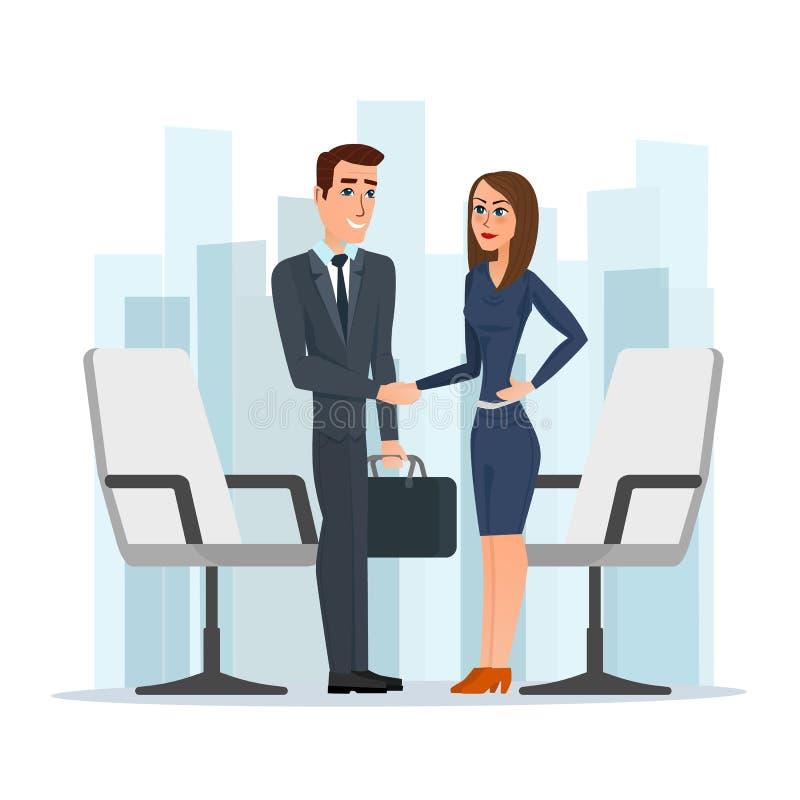 Donna di affari ed uomo d'affari che stringono le mani uomo e donna illustrazione di stock