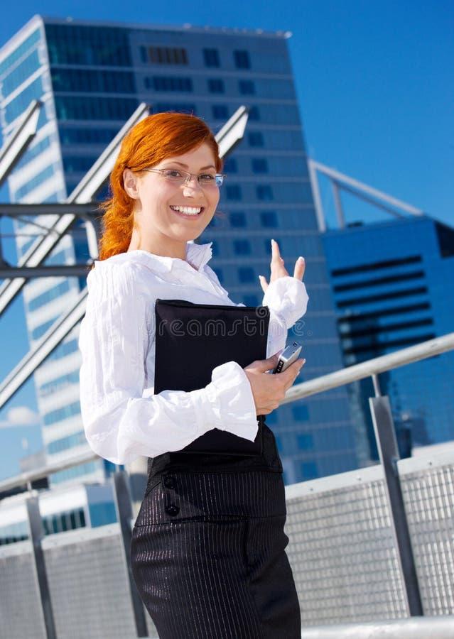 Donna di affari felice immagine stock