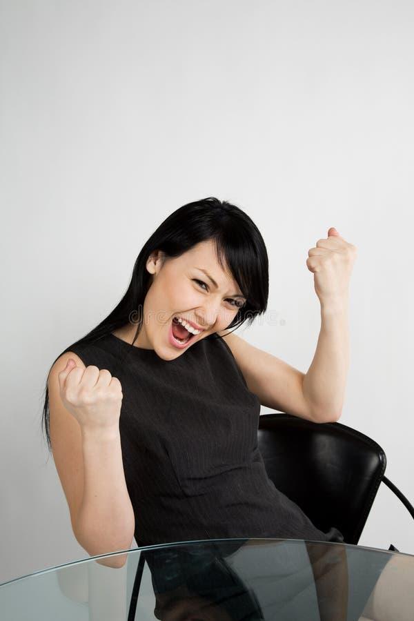 Donna di affari felice fotografie stock libere da diritti