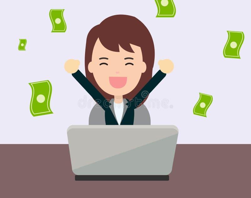 Donna di affari felice a guadagnare soldi da online illustrazione vettoriale