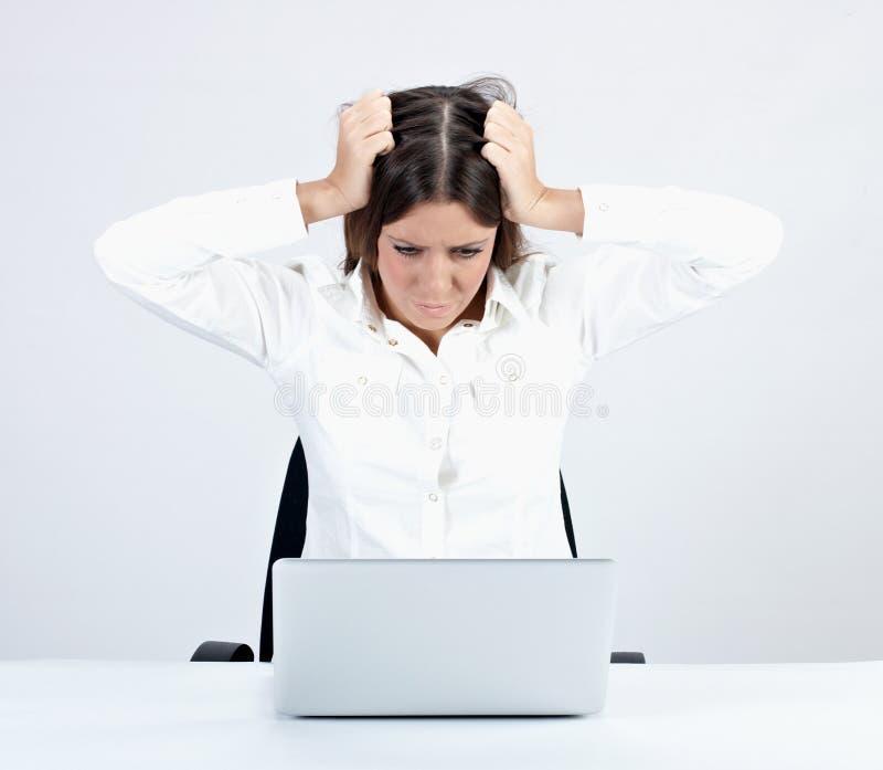 Donna di affari frustrata fotografie stock libere da diritti