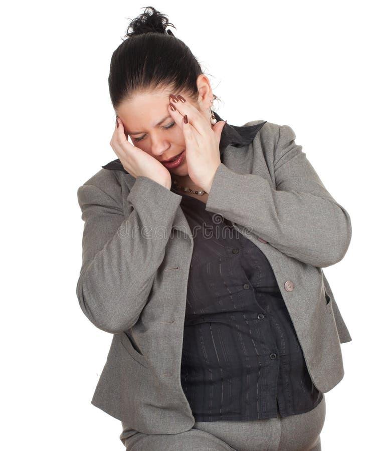 Donna di affari grassa che soffre dal dolore, emicrania immagini stock libere da diritti