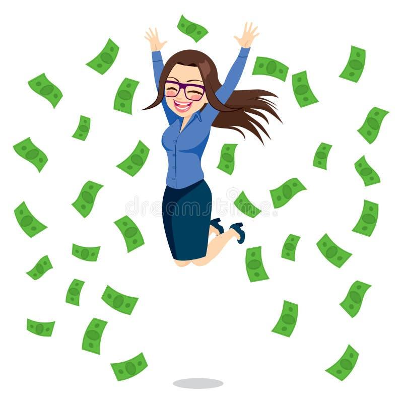 Donna di affari Happy Jumping Money illustrazione di stock