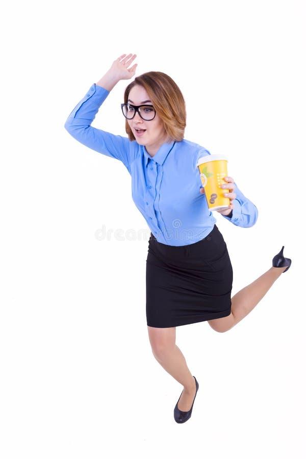 Donna di affari impacciata con caffè immagine stock libera da diritti