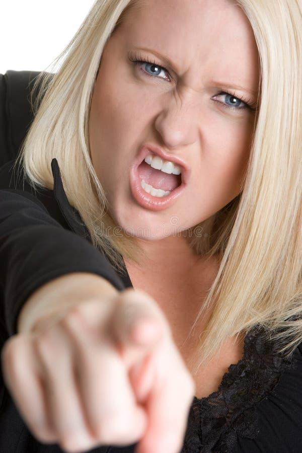 Donna di affari indicante arrabbiata immagine stock