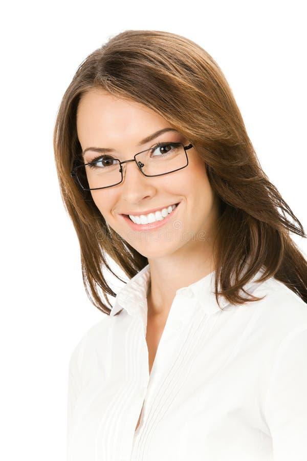 Donna di affari, isolata su bianco immagini stock libere da diritti