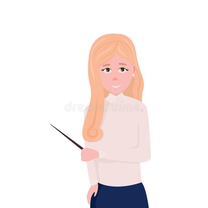 Donna di affari, istruttore o insegnante illustrazione vettoriale
